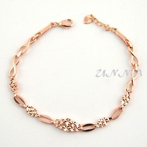 Gold Link Bracelet Womens: Elegant Womens Ladies 18K Rose Gold Filled Chain Link