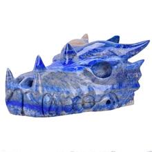 4.6  Natural Jade Zodiac Animals Carving Craft Dragon Head Skull Sculpture Lapis Lazuli Carved Home Decor