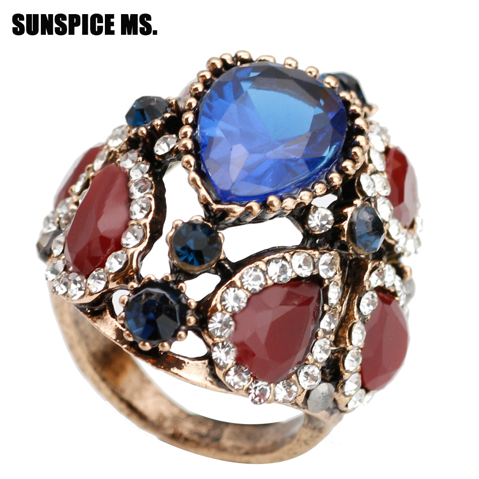 Vintage Rings Natural-Stones Antique Wedding-Jewelry Crystal Ethnic-Turkish Gold-Color