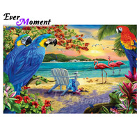 Ever Moment Diamond Painting Handmade Full Square Drill Parrot Seaside Flamingo 5D DIY Hobby Art Diamond Embroidery 3F1888