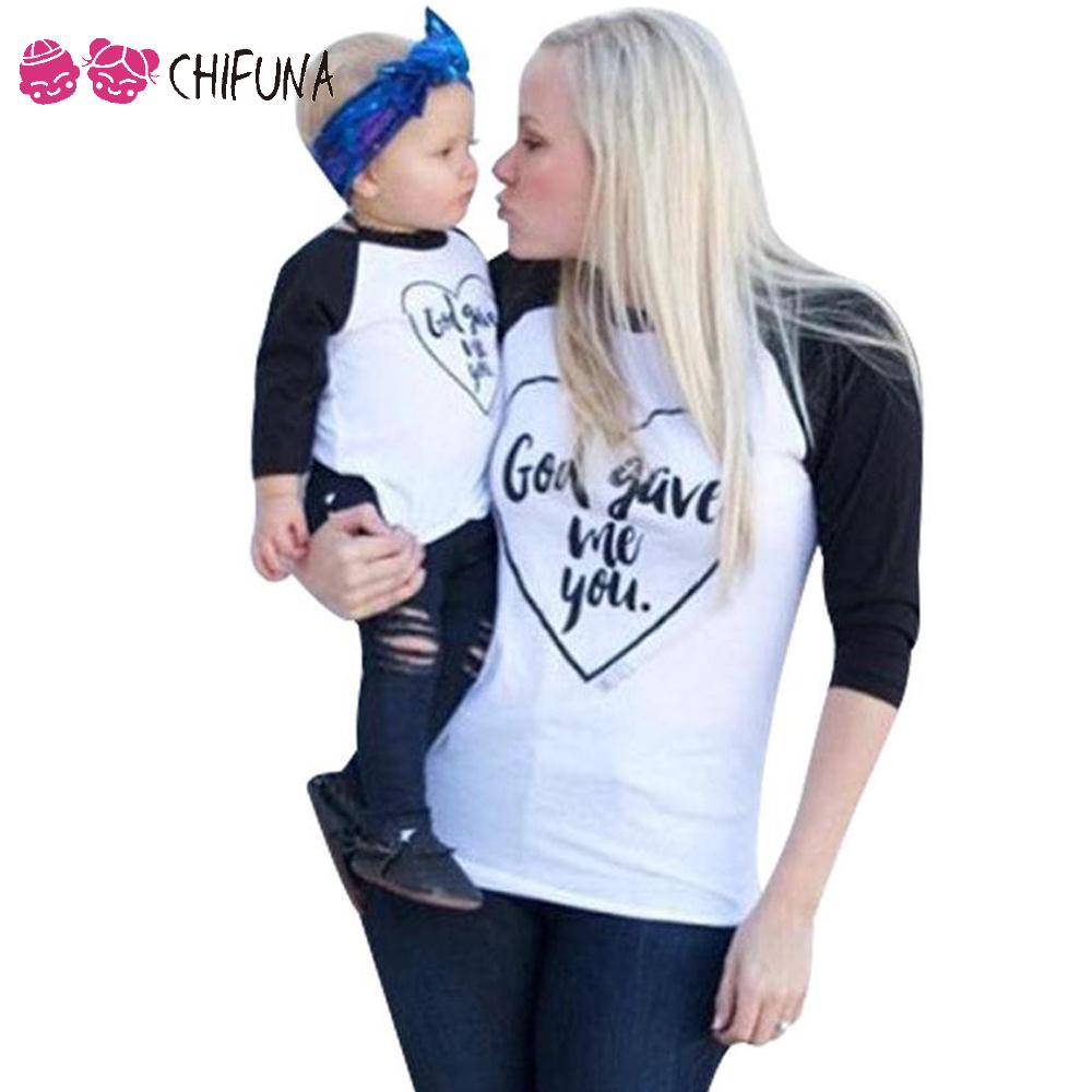 Father Mother Son Daughter Matching Outfits Heart Pattern Family T Shirts Children Clothing Top Tees Outerwear 2016 Family Look