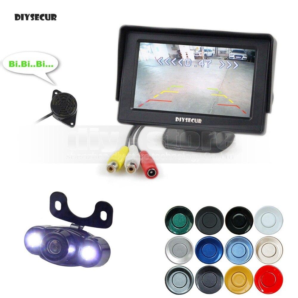 DIYSECUR moniteur de voiture de vue arrière de 4.3 pouces + 4 radars de stationnement + LED caméra de voiture de Vision nocturne aide au stationnement Radar de stationnement vidéo