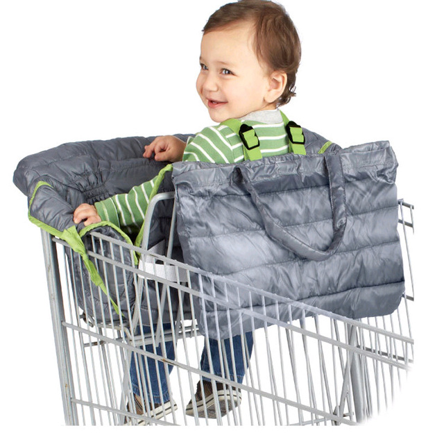 2 in 1 Quilted Baby Shopping Cart & Safety High Chair Seat Pad ...
