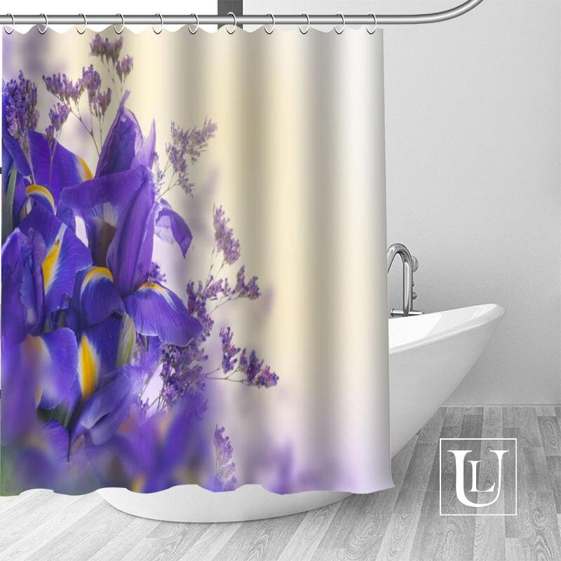 Iris Flower Shower Curtains Custom Design Creative Shower Curtain Bathroom Waterproof Polyester Fabric