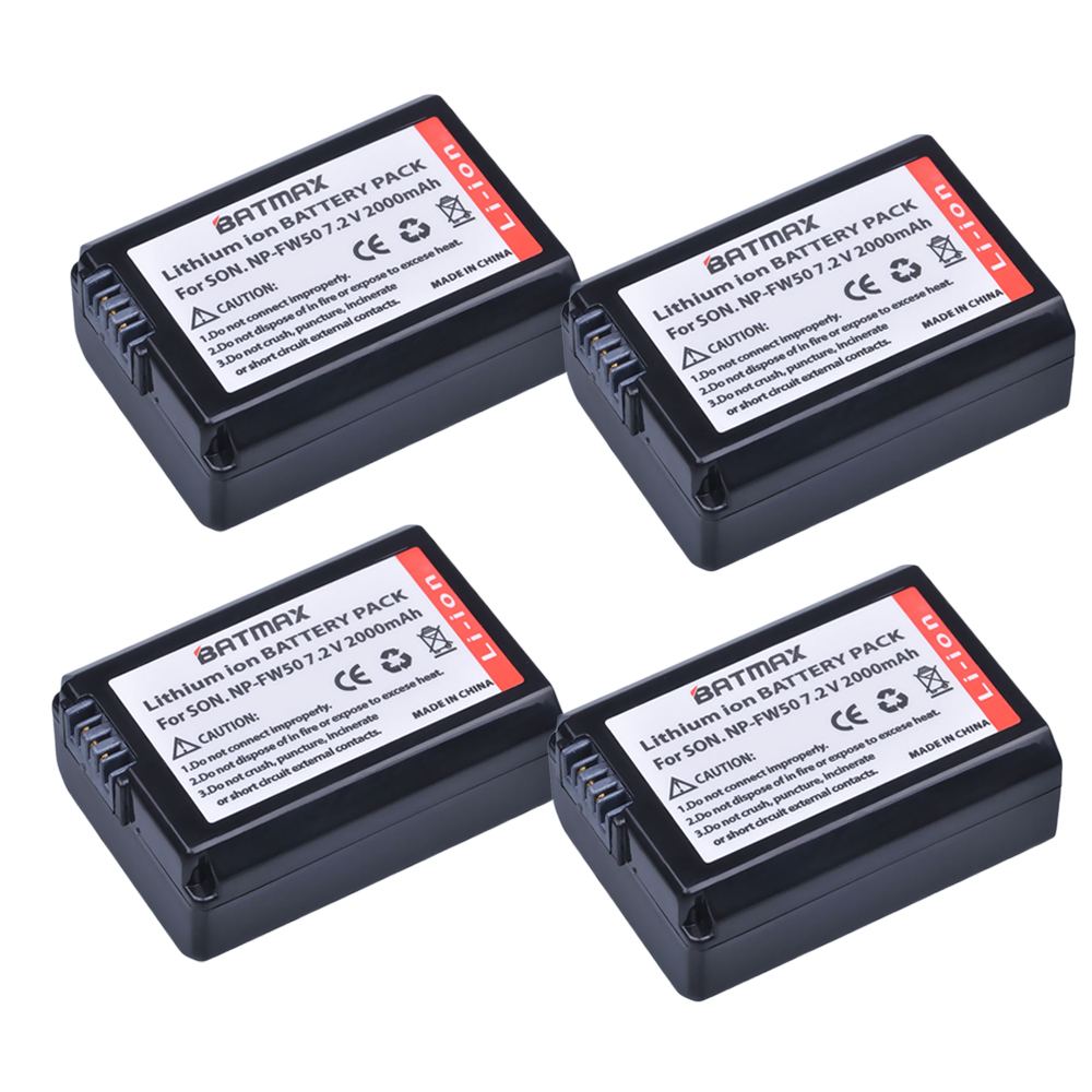 4-Pack 2000mAh NP-FW50 FW50 NPFW50 Batteries for SONY CAMERA NEX-5CK NEX-5D NEX-5C NEX-3C NEX5C NEX3C NEX5 NEX3 A55 A33