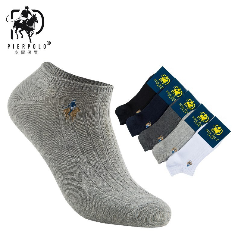 Fashion Brand PIER POLO Socks Men Casual Colorful Short Low Cut Ankle Socks Male Short Business Socks For Man (5Pairs/lot)