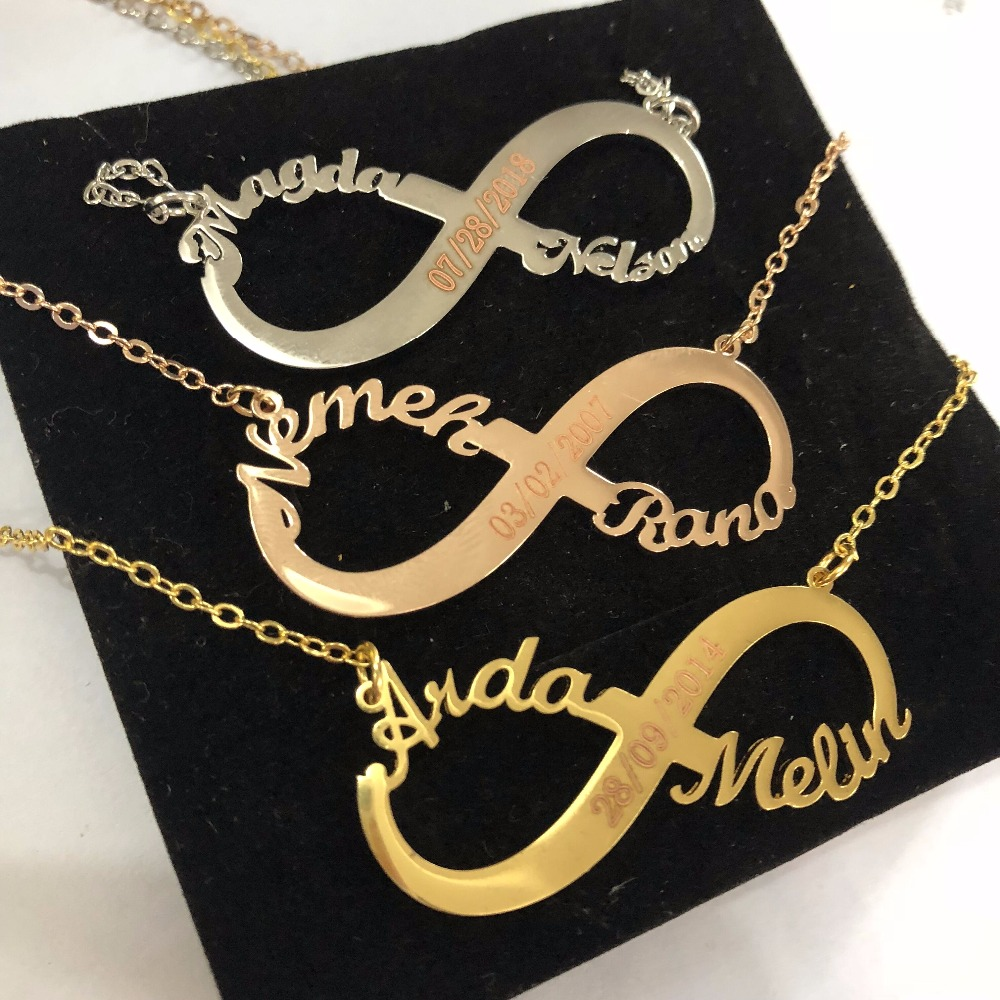 QIMING Custom Statement Necklace Baby Nameplate Personalized Wedding Birthday Gift Women Trendy Name Luxury Jewelry In Chain Necklaces From