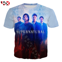 HX Cool Fashion T Shirt Men / Women TV Supernatural 3D Printed Short Sleeve Harajuku Streetwear Tops HX566