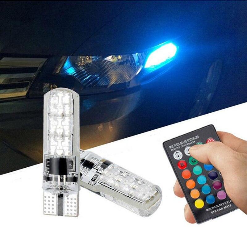 >2x RGB T10 LED Car Parking Light Bulb Remote Control For Ford <font><b>Focus</b></font> <font><b>2</b></font> <font><b>1</b></font> Fiesta Mondeo 4 3 Transit Fusion Kuga Ranger Mustang
