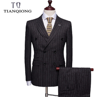 2019 New Arriva Boutique High Quality Smart Casual Stripe Suits Men,double Breasted Skinny Luxury Black Suits Men Clothing