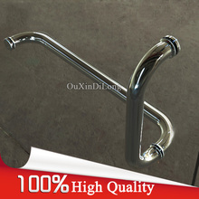 High Quality 304 Stainless Steel Frameless Shower Bath Glass Door Handles L Shape Pull / Push Handles Towel Bar Chrome Finished h007lr frameless bath room shower glass door square tube handle l shape with r 304 stainless steel polish chrome
