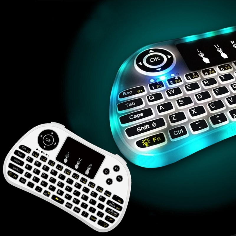 Rechargeable Side Backlit 2.4GHz Mini Wireless Keyboard Backlight Touchpad Remote Control Air Mouse For Android TV Box Laptop