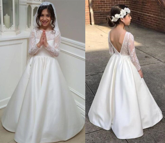Flower Girl Dresses For Garden Weddings: Elegant Sheer French Lace Long Sleeves Open Back Satin