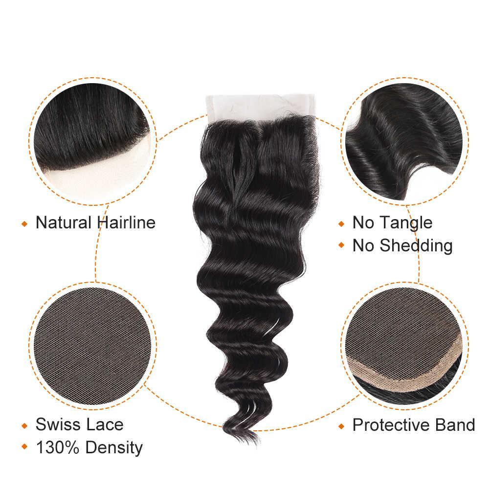 Paquetes de onda suelta de cabello peruano de pelo de azúcar Ali con cierre 4*4 extensiones de cabello humano Remy de encaje envío gratis