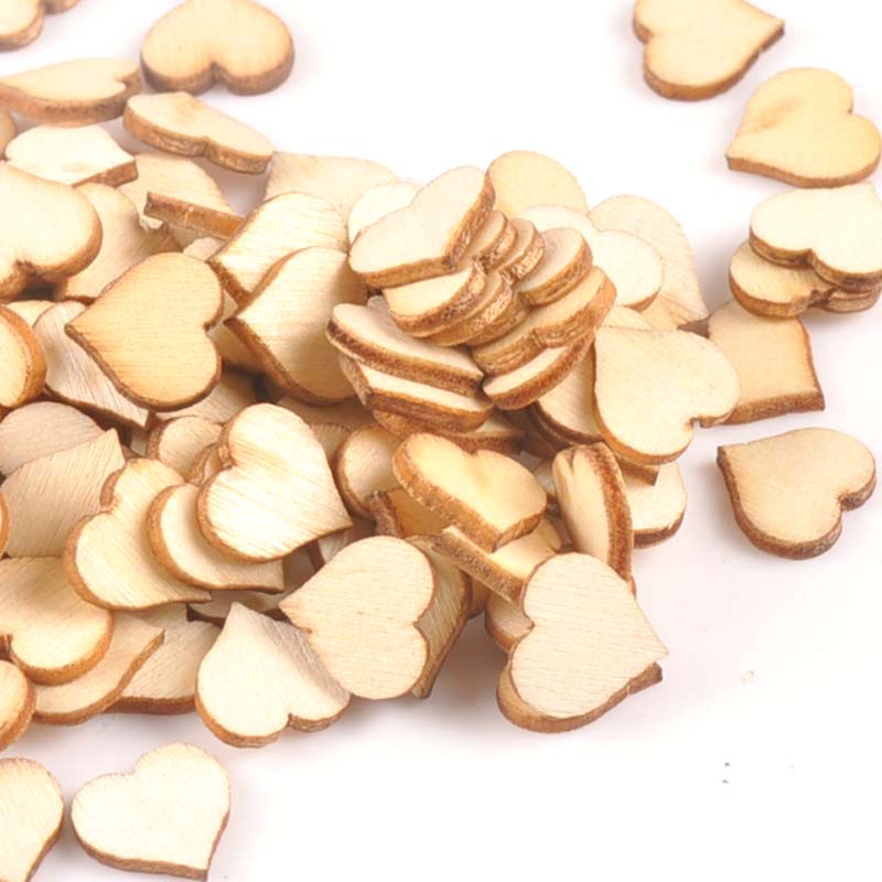 100Pcs Mini Heart Pattern Wood DIY Crafts For Handmade Accessories Wooden Scrapbooking Making Home Decoration 10mm M1808