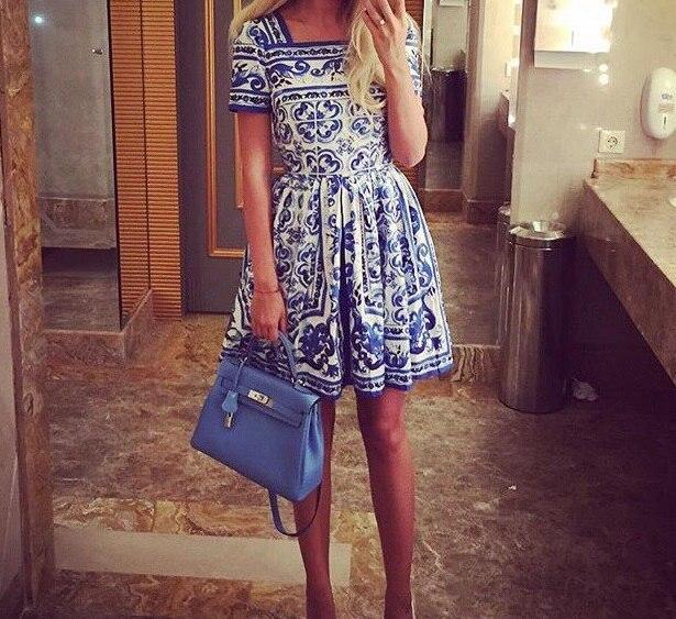 New 2015 summer style women vintage fashion brand blue white porcelain print dress square collar short sleeve slim cute dresses женское платье dress new brand 2015 o dresses women