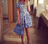 New 2015 Summer Style Women Vintage Fashion Brand Blue White Porcelain Print Dress Square Collar Short