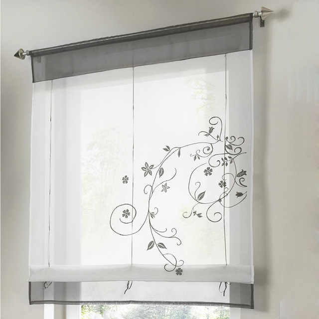 Newest Roman Shade Kitchen Short Curtains Embroidery Roman Blinds White  Sheer Panel Window Treatment Door Curtains