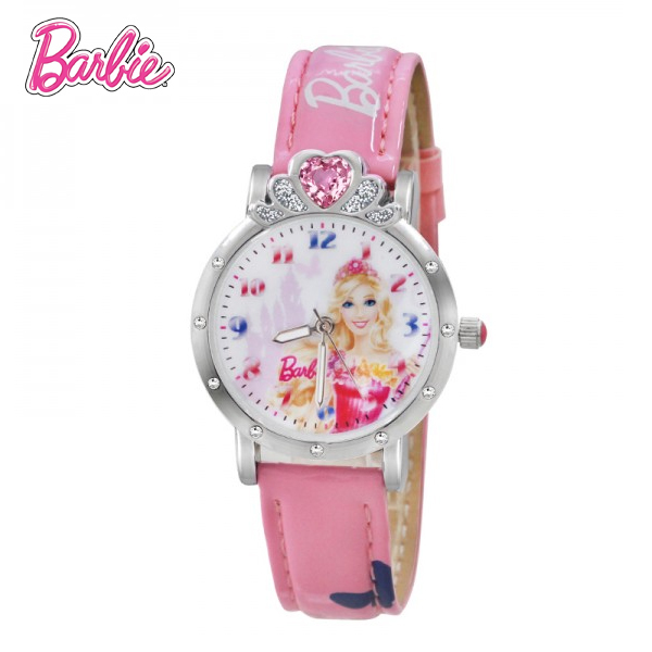 100% Genuine Barbie girls Brand watch Children Watch Princess Watches Fashion Girl Kids Student Leather Wrist Watches BA00135-1