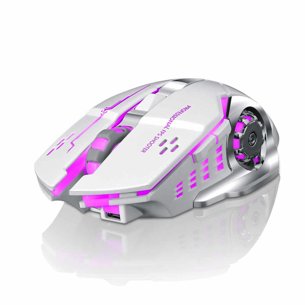 Voberry Wireless 2.4 GHz Mouse Bluetooth Rechargeable Tikus LED Backlit Optical 2400 Dpi Gaming Ergonomis Diam untuk PC DD