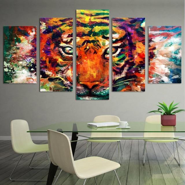 Wandbild Dekoration Wohnzimmer 5 Panel Tier Tiger Leinwand ...