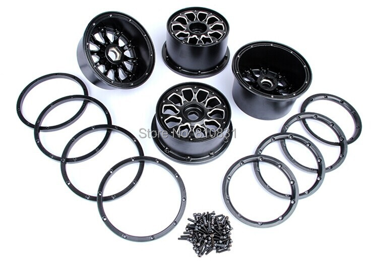 Metal Baja 5T wheel hub set two rear and two front wheels and beadlocks for 1/5 HPI Baja 5T Parts Rovan KM gtbracing 2 front and 2 rear wheel hub rim with beadlock ring for 1 5 losi 5ive t rovan lt km x2