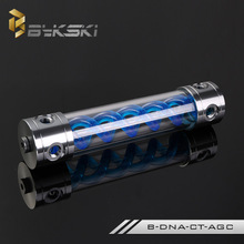 BYKSKI 260MM X 50MM Aluminum Acrylic Double Helix T-Virus Cylindrical Water-Cooled Coolant Tank Light System B-DNA-CT-AGC Blue