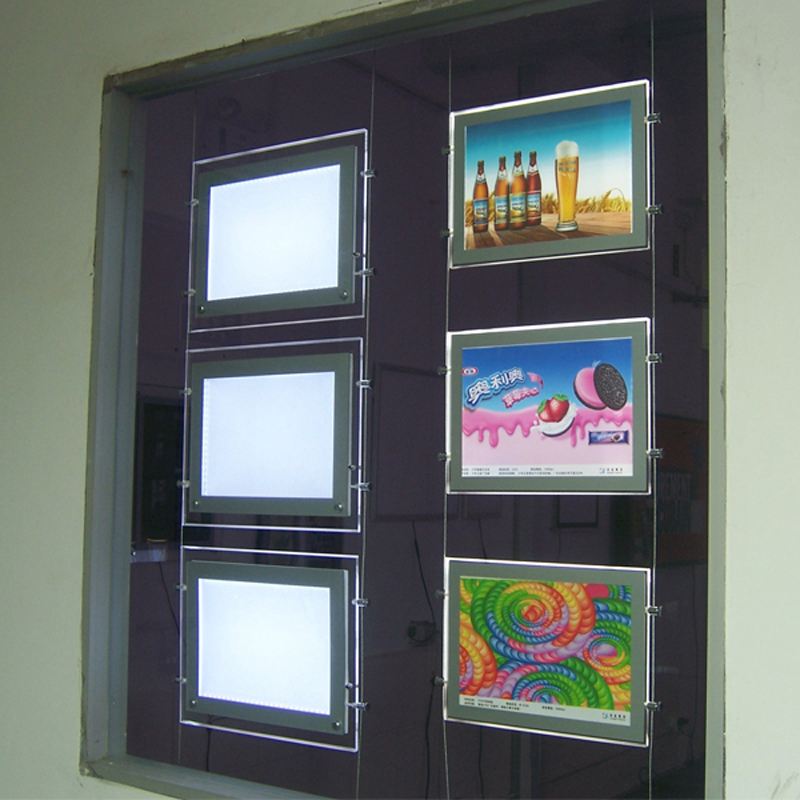 (10unit/Column) A3 Double Sided LED Magnetic Panel Lightbox & Suspension Display Systems for Hanging Signs & Ads