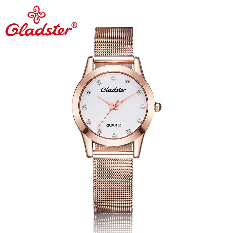 ¡Nuevo! relojes Gladster de lujo para mujer, de estilo informal relojes de cuarzo, correa de acero inoxidable ultrafina para mujer, relojes de cuarzo