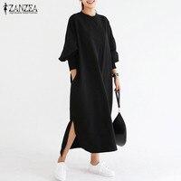 Newest 2017 ZANZEA Women Striped Dress Vintage Long Batwing Sleeve O Neck Casual Loose Split Maxi