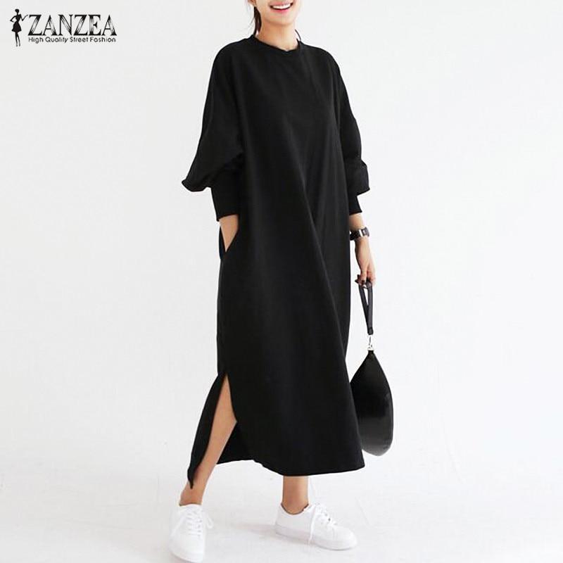 Più nuovo 2018 ZANZEA Delle Donne Vestito A Righe Vintage Lunga Manica A Pipistrello O Collo Allentato Casuale Split Maxi Long Dress Plus Size Vestidos
