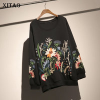 [XITAO] Embroidery Restoring Ancient Ways Fashion Women O neck Full Sleeve Loose Top Female Floral Pullover Sweatshirt LYH2909
