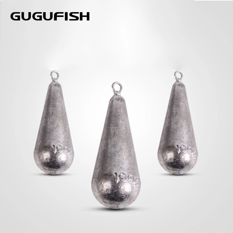 GUGUFISH 5pcs/lot Open Lead Sinker Olive Shaped Accessories For Lure Sea Fishing 5g/10g/30g/60g/80g Weight Selling(China)