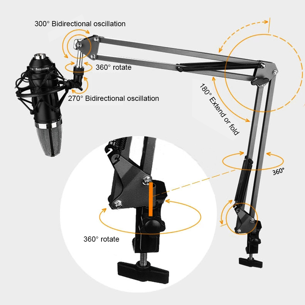 ALLOYSEED Universal Microphone Stand Holder Bracket Professional Desktop Mic Bracket Ajustable Metal Holder For Live Broadcast