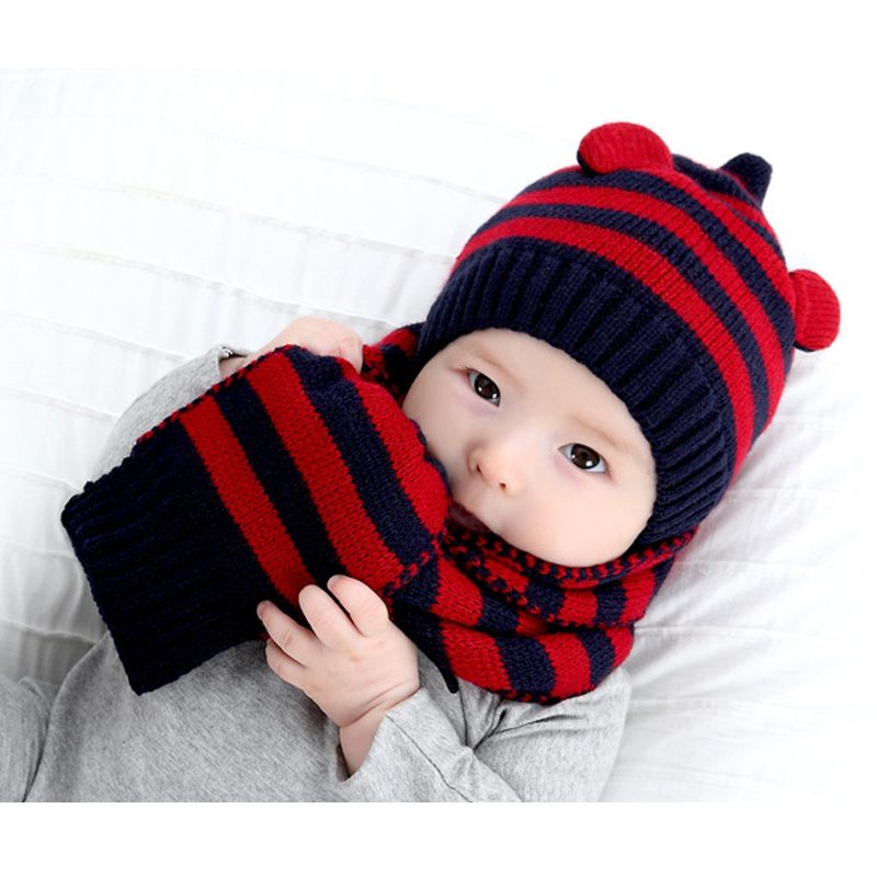 New Children Winter ear muff for babies crochet baby hat scarf set boys Headband Acrylic children Hats costume Knitted baby caps