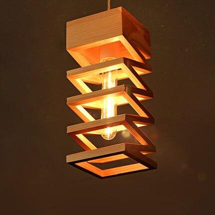 Moderní krátký knoflík na dřevo Přívěsek na světlo do jídelny a restaurace s lampou E27 8 ks trojúhelníková lampa na dřevo