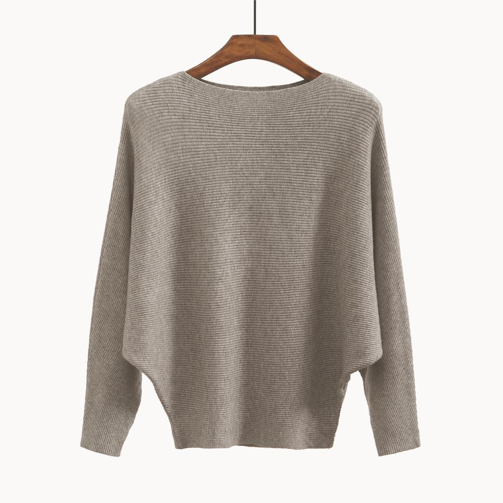 Women's Sweaters And Pullovers Coat Batwing Sleeves Loose Cashmere Sweatershirt Slash Neck Female Wool Knitted Brand Jumpers