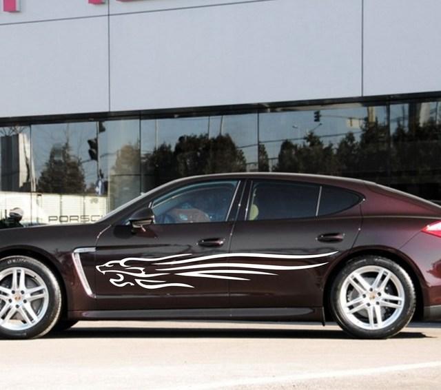 Car Outline Lion Flames 78 Door Decals For Panamera Vinyl Auto
