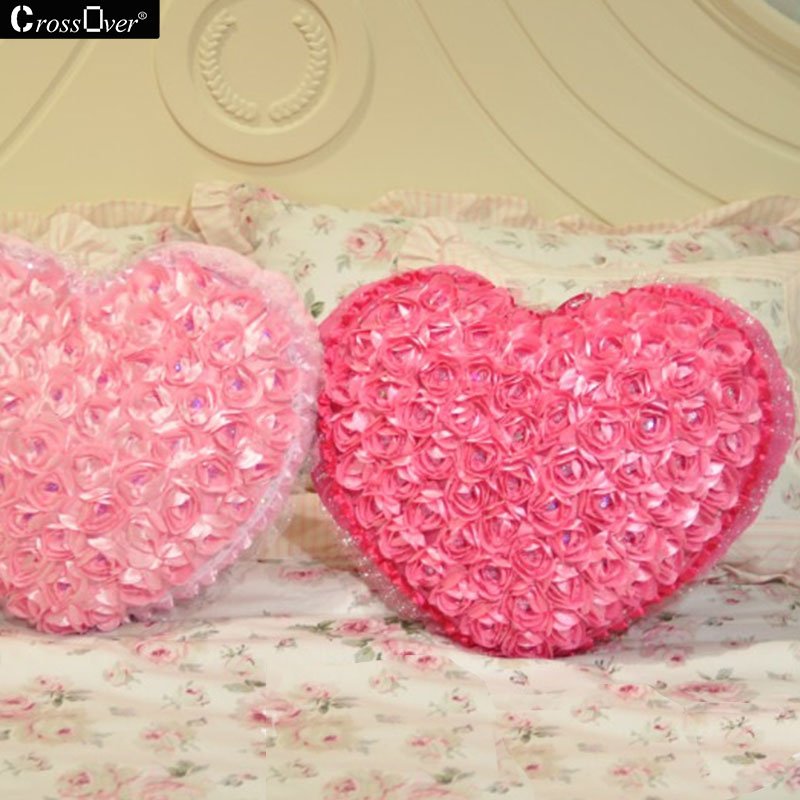 New Satin Rosette Pillow Sofa Cushions Heart Shaped Couple