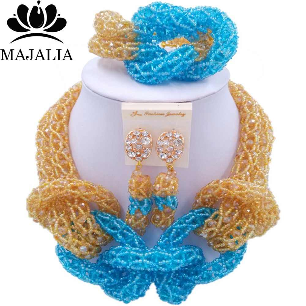 Majalia New Fashion Nigerian Wedding African Jewelery Set Gold ab and Lake blue Crystal Necklace Bridal Jewelry Set 2RF016