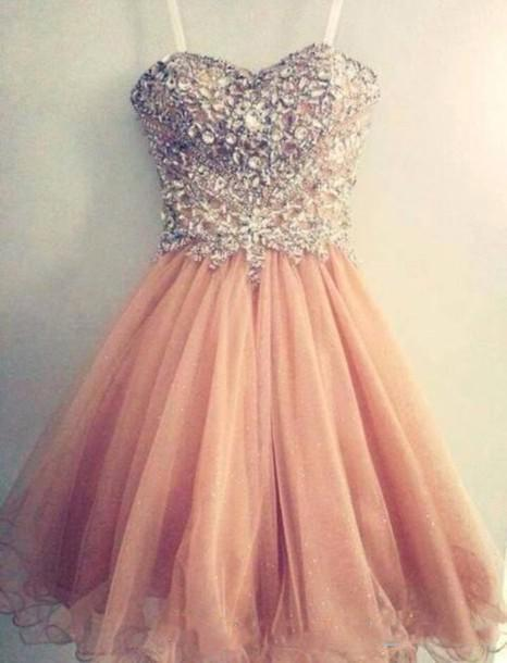 Peach 2019 Homecoming Dresses A-line Spaghetti Straps Beaded Crystals Short Mini Elegant Cocktail Dresses