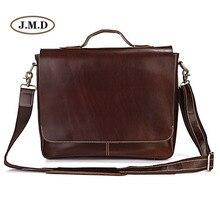 J.M.D Brand Genuine Leather Men's Classic Dark Brown Simple Business Briefcases Laptop Handbag Shoulder Bag Messenger Bag 7108R