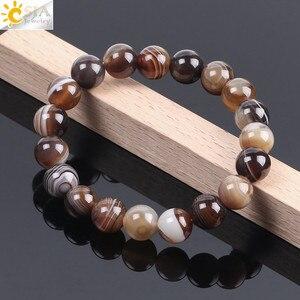 Image 3 - CSJA Natural Round Gem Stone Agates Onyx Men Bracelets Bangle 10mm Brown Stripe Ethnic Rosary Energy Beads Prayer Wristband F113