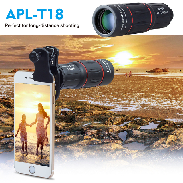 APEXEL 5 in 1 phone camera lens kit 18X Telescope Monocular lens +fisheye wide macro lens+selfie tripod for iPhone 7 8 X android 1