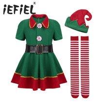 IEFiEL Kinderen Meisjes Kerst ELF Cosplay Jurk met Rode Kerstmuts Riem Panty Set Xmas Cosplay Party Costume Dress Up kleding