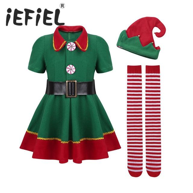 5e42e893ca IEFiEL dla dzieci dziewczyny boże narodzenie ELF Cosplay sukienka z  czerwonym Kapelusz dla Św. Mikołaja