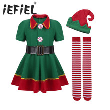iEFiEL Kids Girls Christmas ELF Cosplay Dress with Red Santa Hat Belt Tights Set Xmas Cosplay Party Costume Dress Up Clothes
