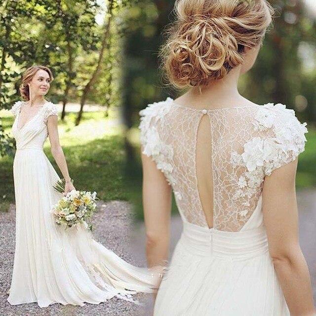 New Fashionable Short Sleeve Bohemian Chiffon Wedding Dress Beach 2016 With Flowers Illusion Back Y V