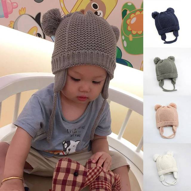 214ac6af8ab0c 2019 Baby Boy/Girl's Autumn Winter Warm Thicken Bomber Hat Children Pom  Poms Ball Pile Ear Protect Cute Kid Knit Russia Wool Cap
