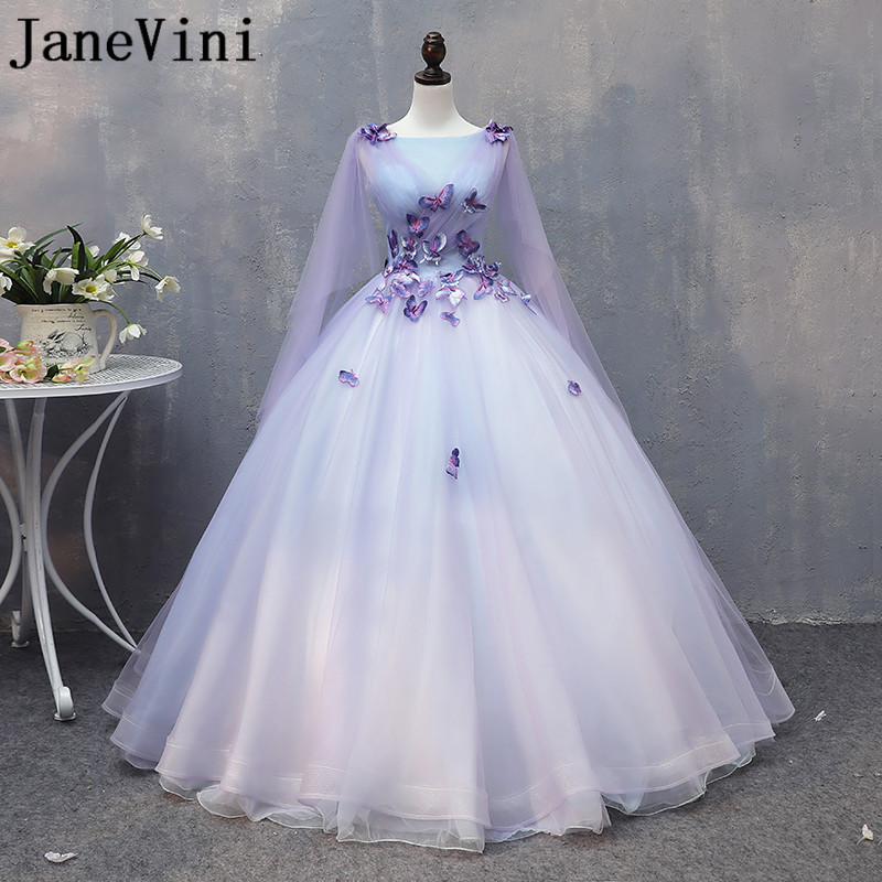 JaneVini 2018 Unique Light Purple Long   Bridesmaid     Dresses   With Sleeves 3D Butterfly Decoration Ball Prom   Dress   Tulle Party Gowns